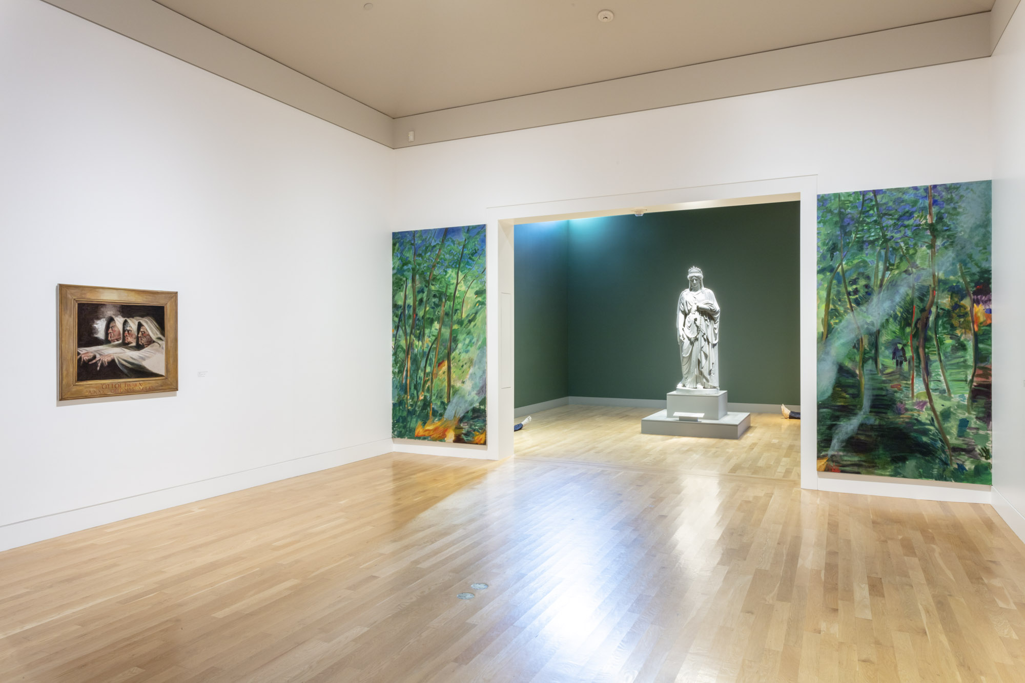"""An installation view of Jill Mulleady's work at """"Made in L.A. 2020: a version"""" at The Huntington Library, Art Museum, and Botanical Gardens, San Marino. 