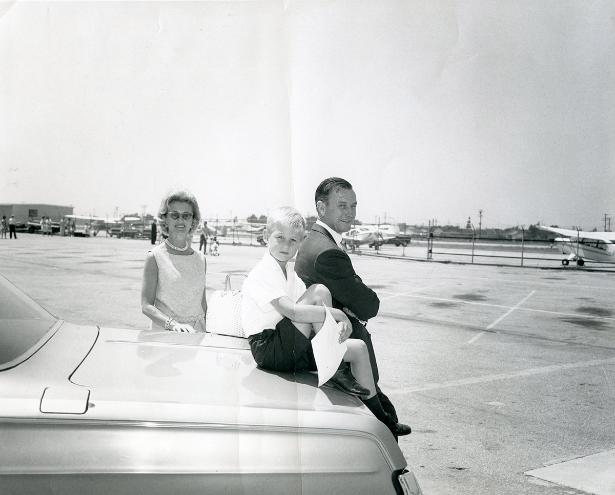Director Peter Jones (center) with parents Tom and Ruth Jones at Santa Monica Airport, 1963. | Courtesy of Peter Jones