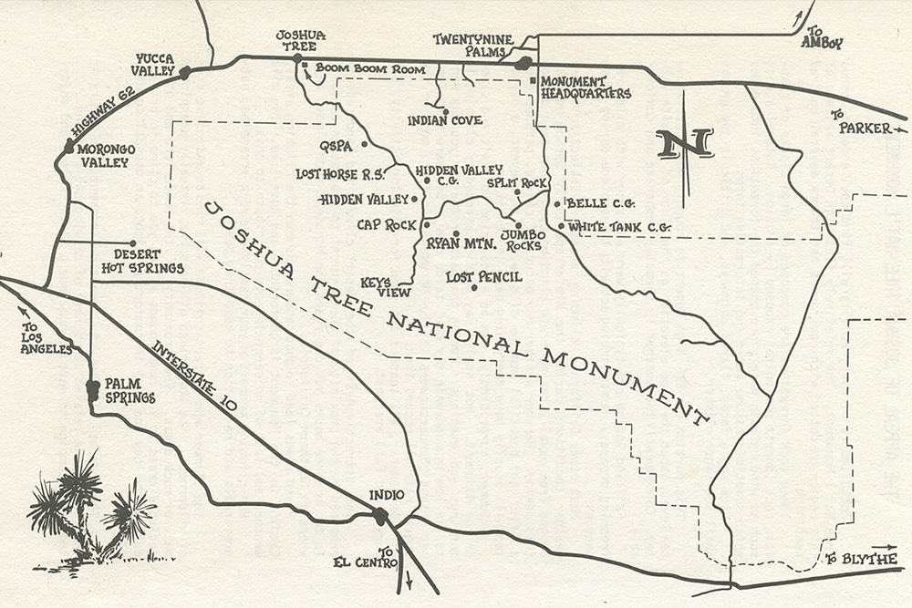Map from the 1979 edition of John Wolfe and Bob Dominick's A Climber's Guide to Joshua Tree National Monument.