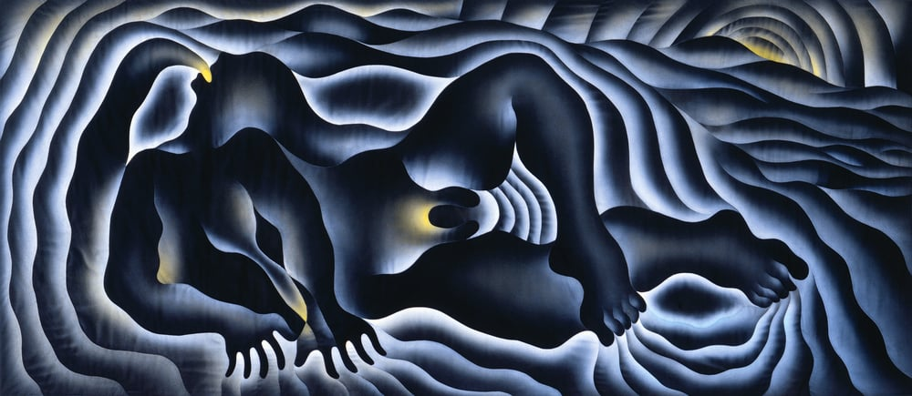 "Judy Chicago, ""The Creation"" from the Birth Project, 1984. Modified Aubusson tapestry 42 x 163 inches 
