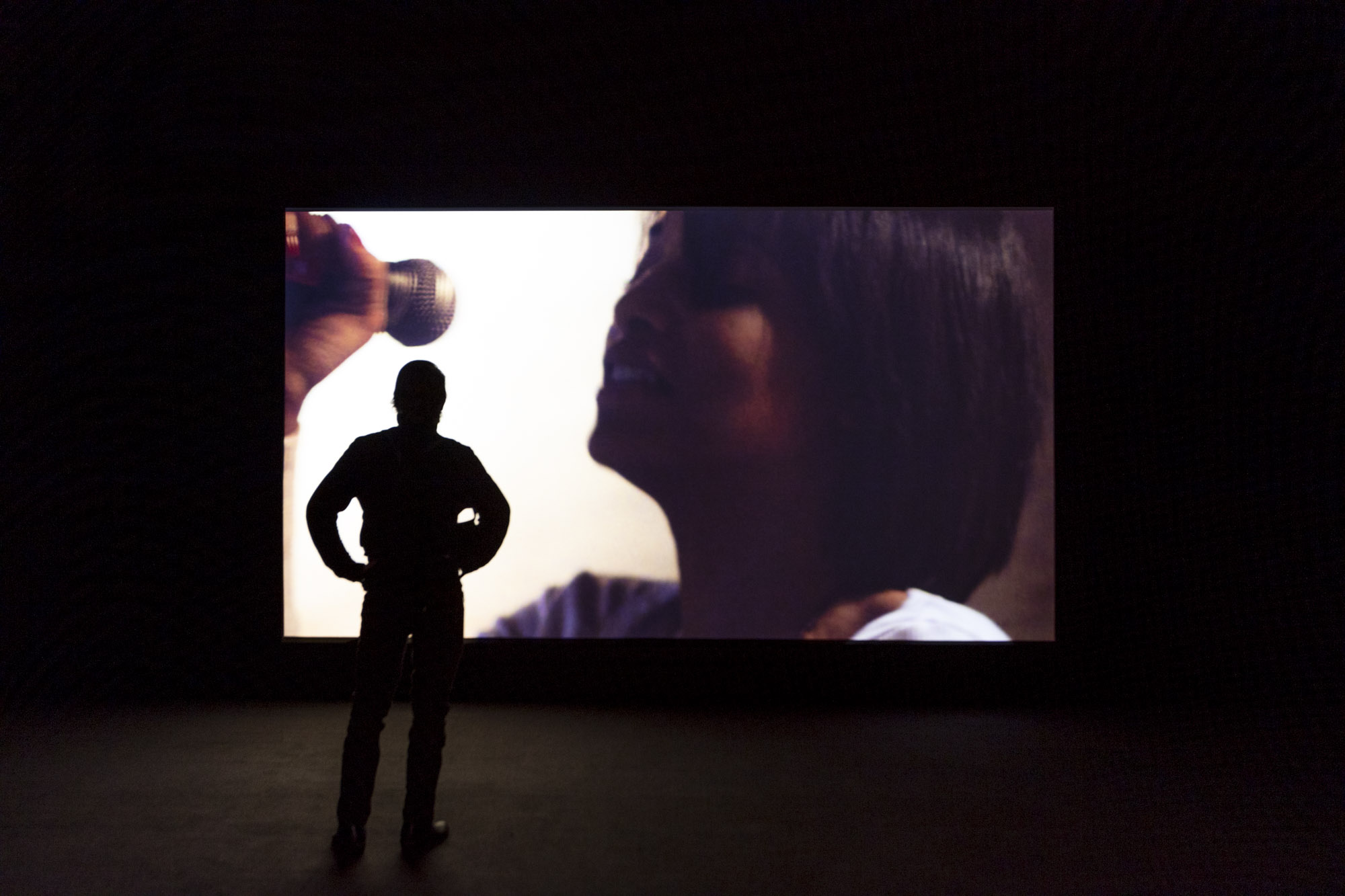 """An installation view of Kahlil Joseph's work at """"Made in L.A. 2020: a version"""" at The Huntington Library, Art Museum, and Botanical Gardens, San Marino. 