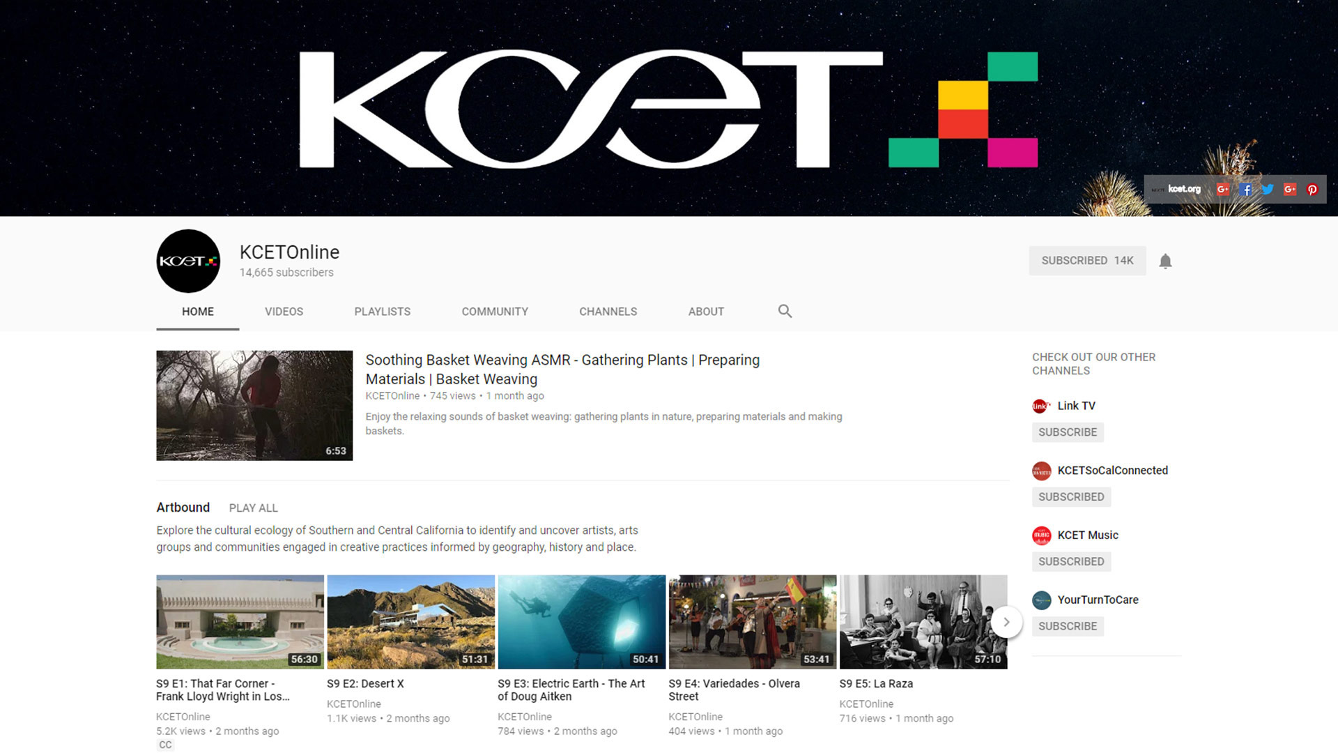 Screenshot of KCET YouTube Channel