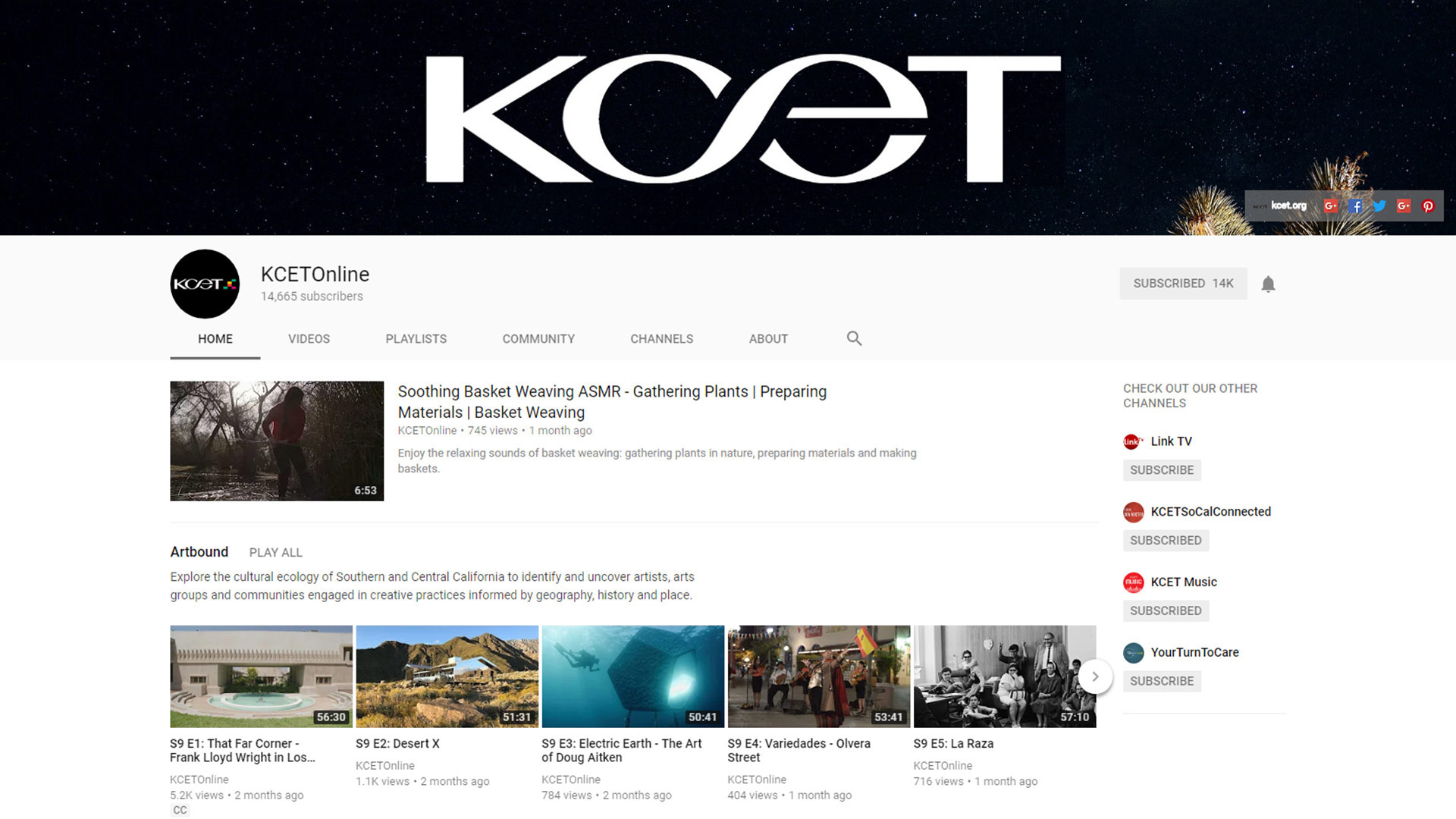 Screenshot of KCET's YouTube channel