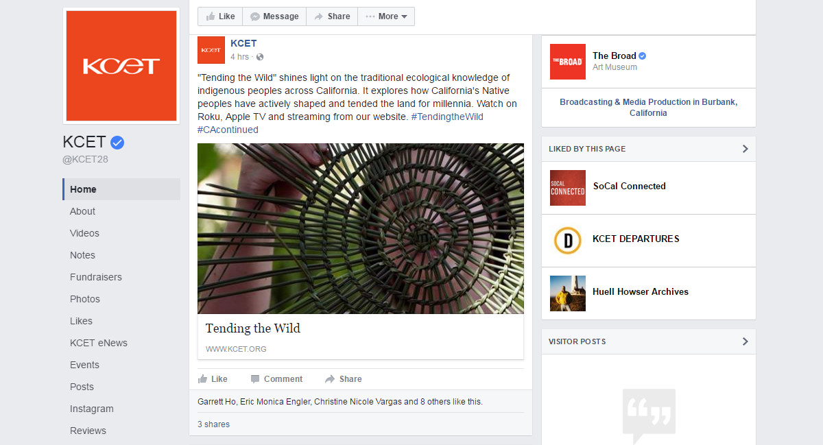 """A KCET Facebook post promotes """"Tending the Wild,"""" a series produced in partnership with the Autry"""