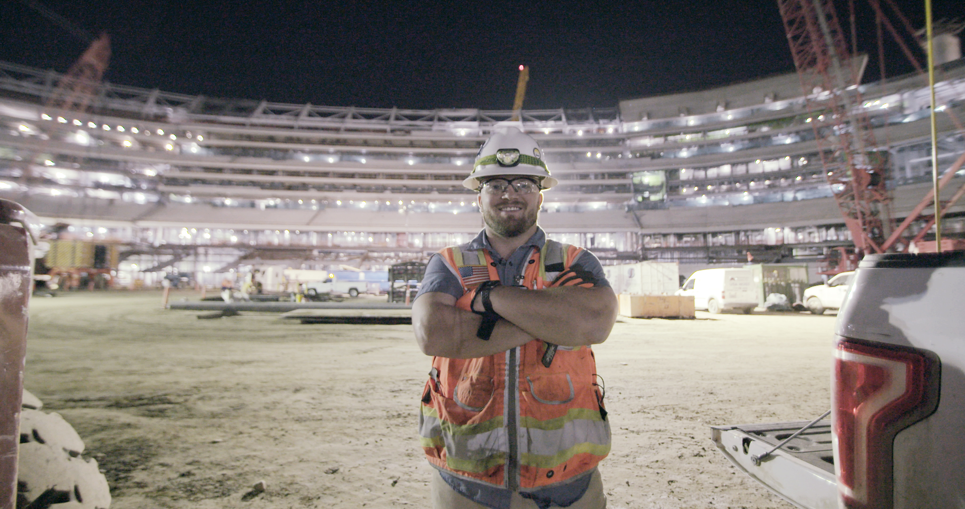 Vincent Marsala works as a night shift superintendent at the LA Stadium construction project.