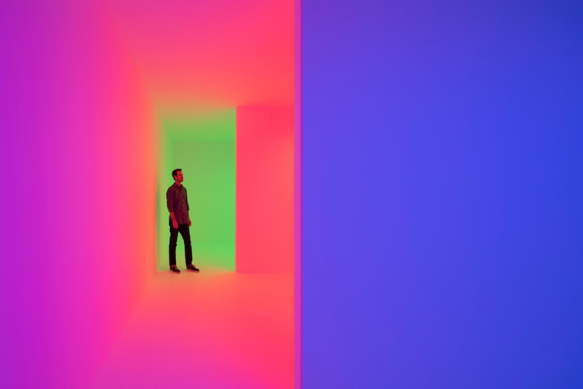 "B. Carlos Cruz-Diez, Chromosaturation, 1965/2017 ""Kinesthesia: Latin American Kinetic Art, 1954-1969,"" Palm Springs Art Museum. 