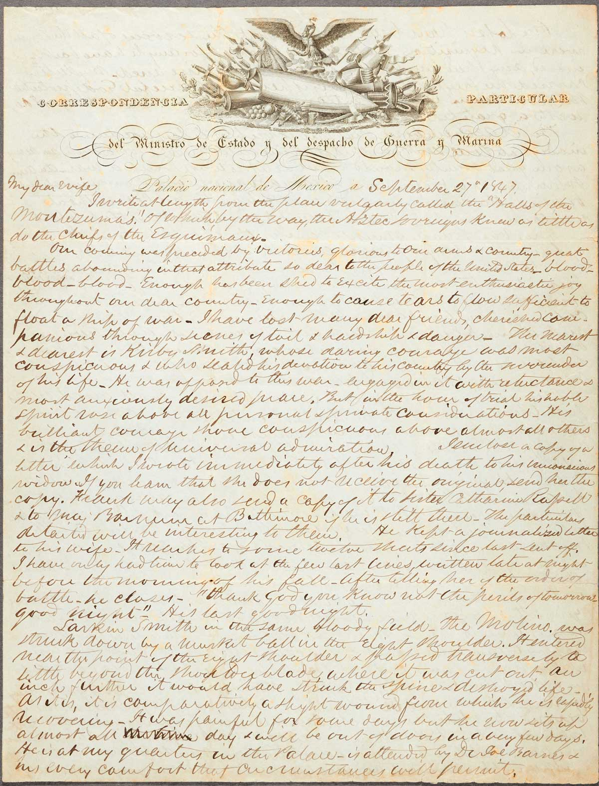 Autograph letter by Edmund Kirby signed to Eliza Brown Kirby dated Mexico City, September 27, 1847  | The Huntington Library, Art Museum, and Botanical Gardens
