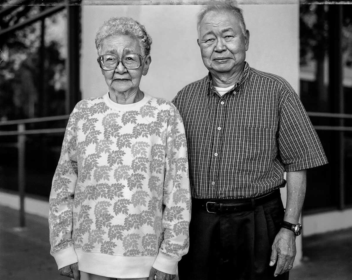 Kimiko Kitagaki Wong and Paul Kiyoshi Kitagaki return in 2005 to the Oakland building where the East Bay evacuees were sent to camps. | Paul Kitakagi, Jr.