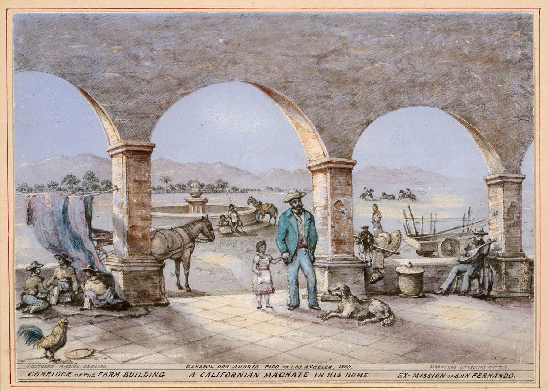 Andres Pico on his Rancho Ex-Mission de San Fernando in 1865