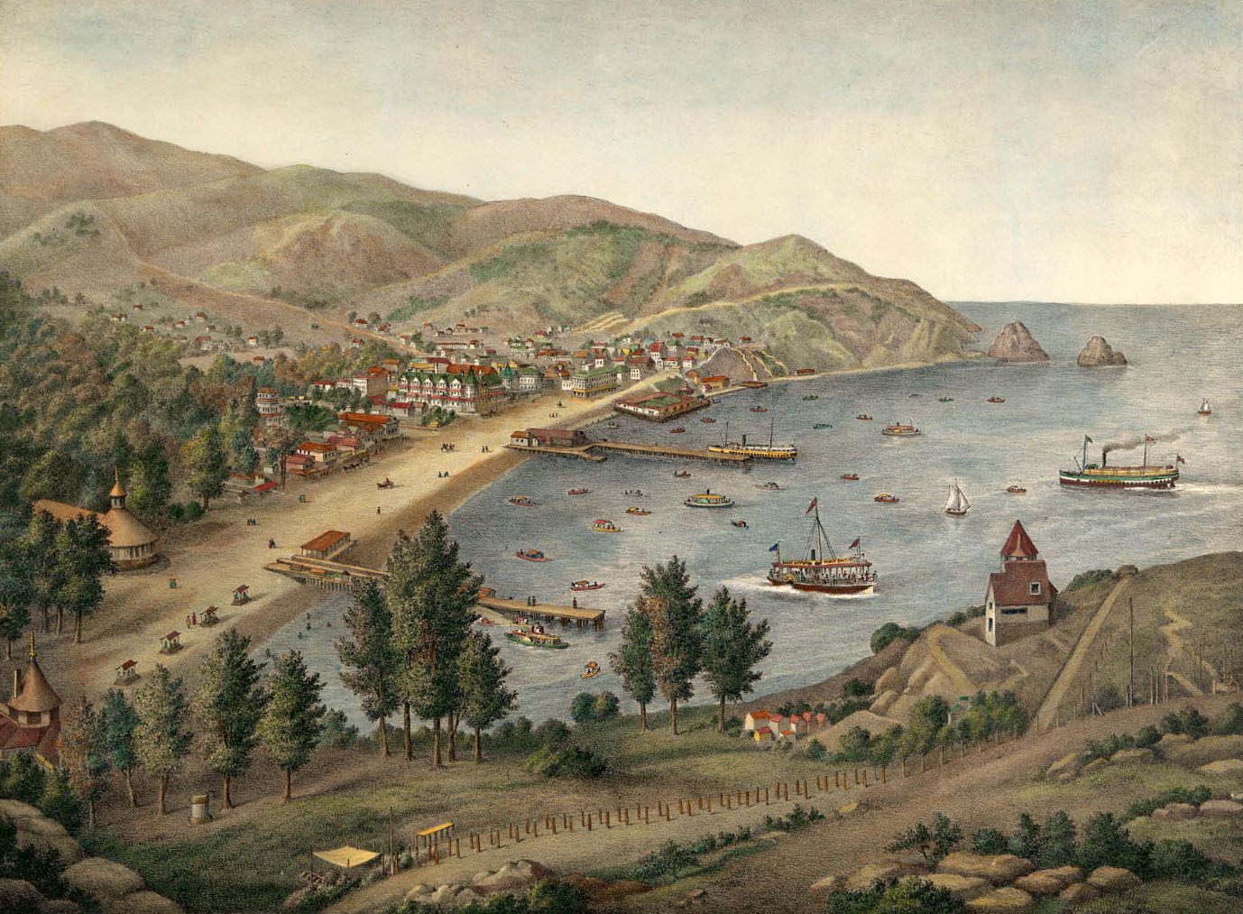 View of Avalon Bay, Santa Catalina Island, circa 1905