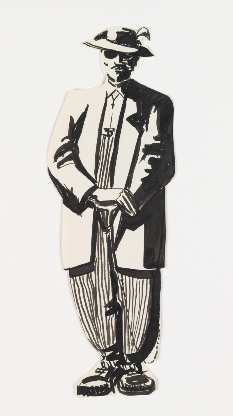 José Montoya, Untitled, date unknown. Ink on paper, 23 x 8 cm. Courtesy of the Montoya Family Trust.