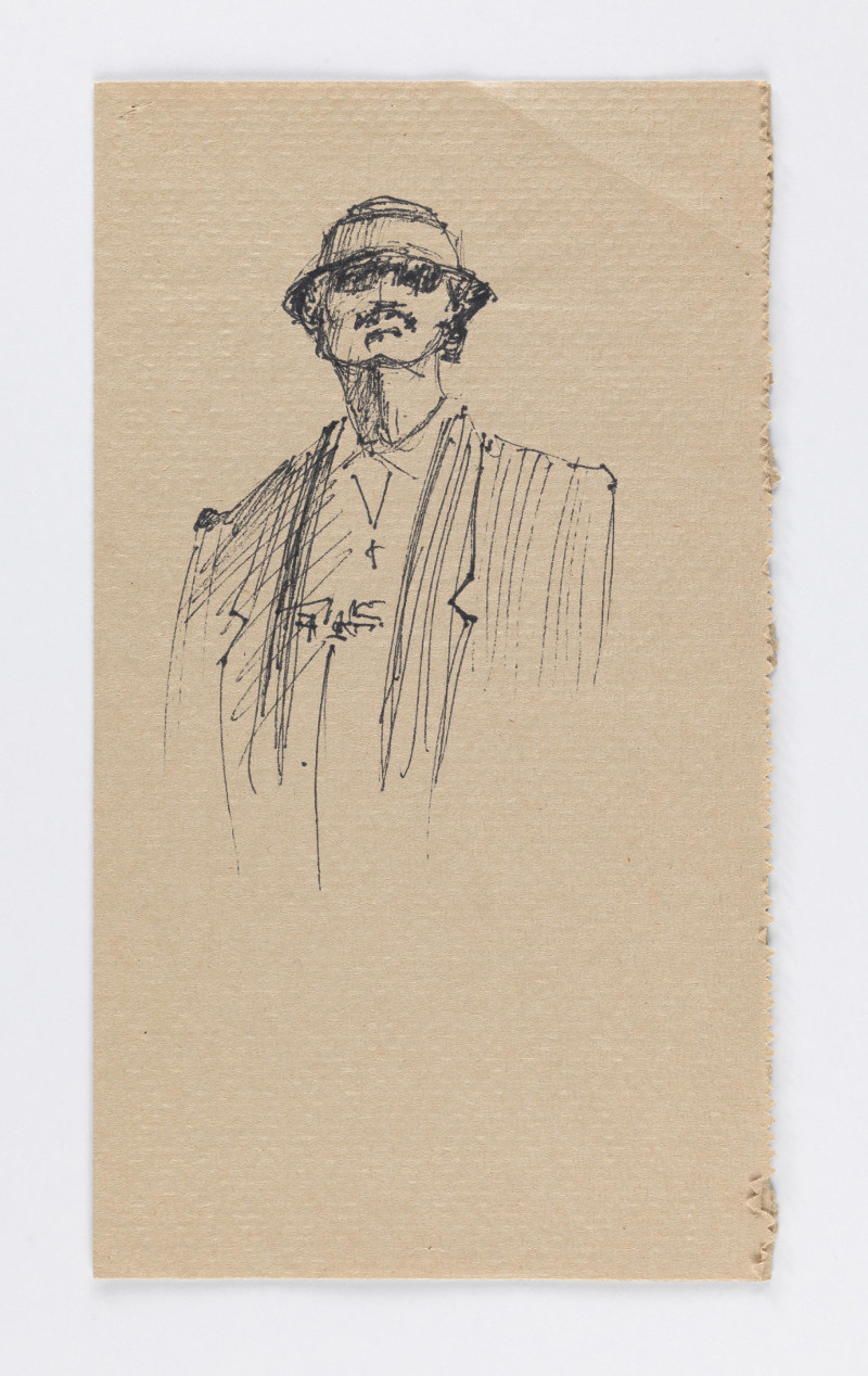 José Montoya, Untitled, date unknown. Ink on paper, 23 x 13 cm. Courtesy of the Montoya Family Trust.