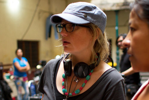 "Sarah Clift on the set of ""La Madre Buena."""