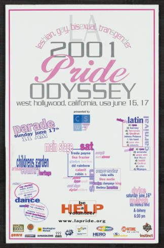 LA lesbian, gay, bisexual, transgender 2001 pride odyssey, poster. | ONE National Gay and Lesbian Archives, USC Libraries