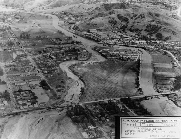 Confluence of the Los Angeles River and Tujunga Wash after the flood of 1938