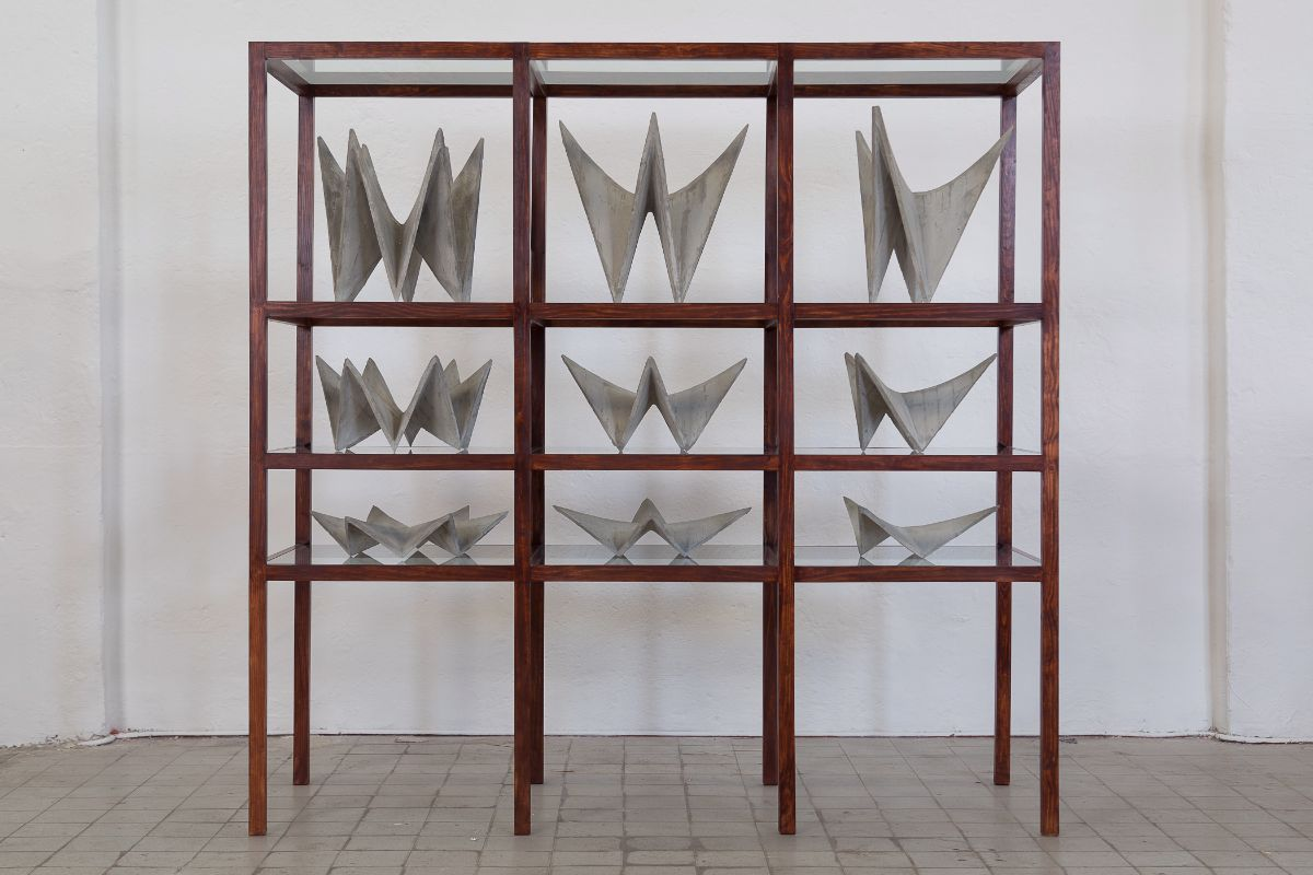 "Hector Zamora. ""Hyppars,"" 2014. Poured concrete, vitrine 