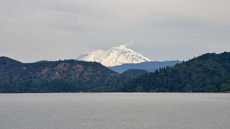 Lake Shasta with Mount Shasta in distance