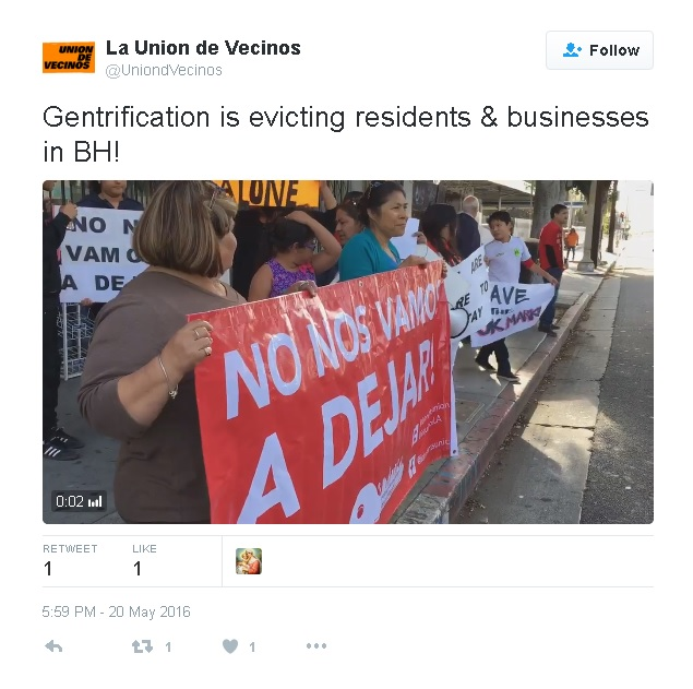 """Gentrification is evicting residents & businesses in BH!"" 