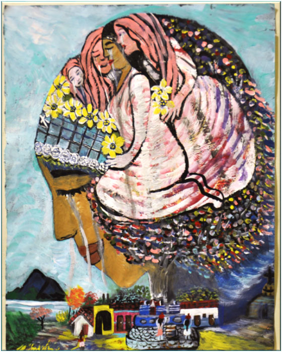 A painting of a woman crying over a landscape of home painted by Leisy Abrego's mother to reflect her feelings over missing a mother throughout much of her childhood | Courtesy of Leisy Abrego