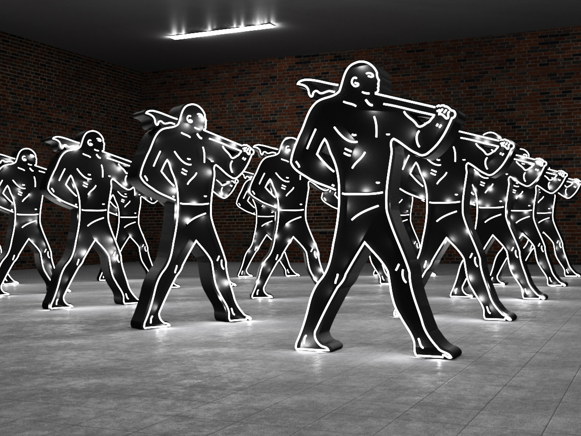 "Lisa Schulte and Cleon Peterson, ""Warrior: Army Triangle,"" 2015."