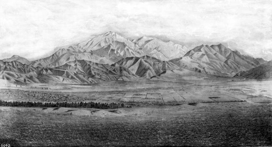 A lithographic view of San Bernardino, circa 1873. The town was slow to recover from the sudden departure of so many of its residents. Courtesy of the USC Libraries - California Historical Society Collection.