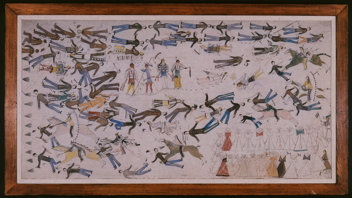 Battle of Little Big Horn, painting by Kicking Bear | Photo: The Autry Museum
