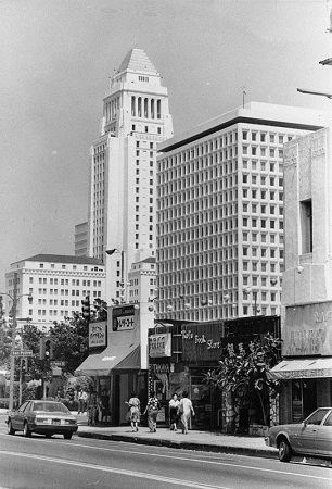 Little Tokyo in the shadow of Los Angeles City Hall, 1984