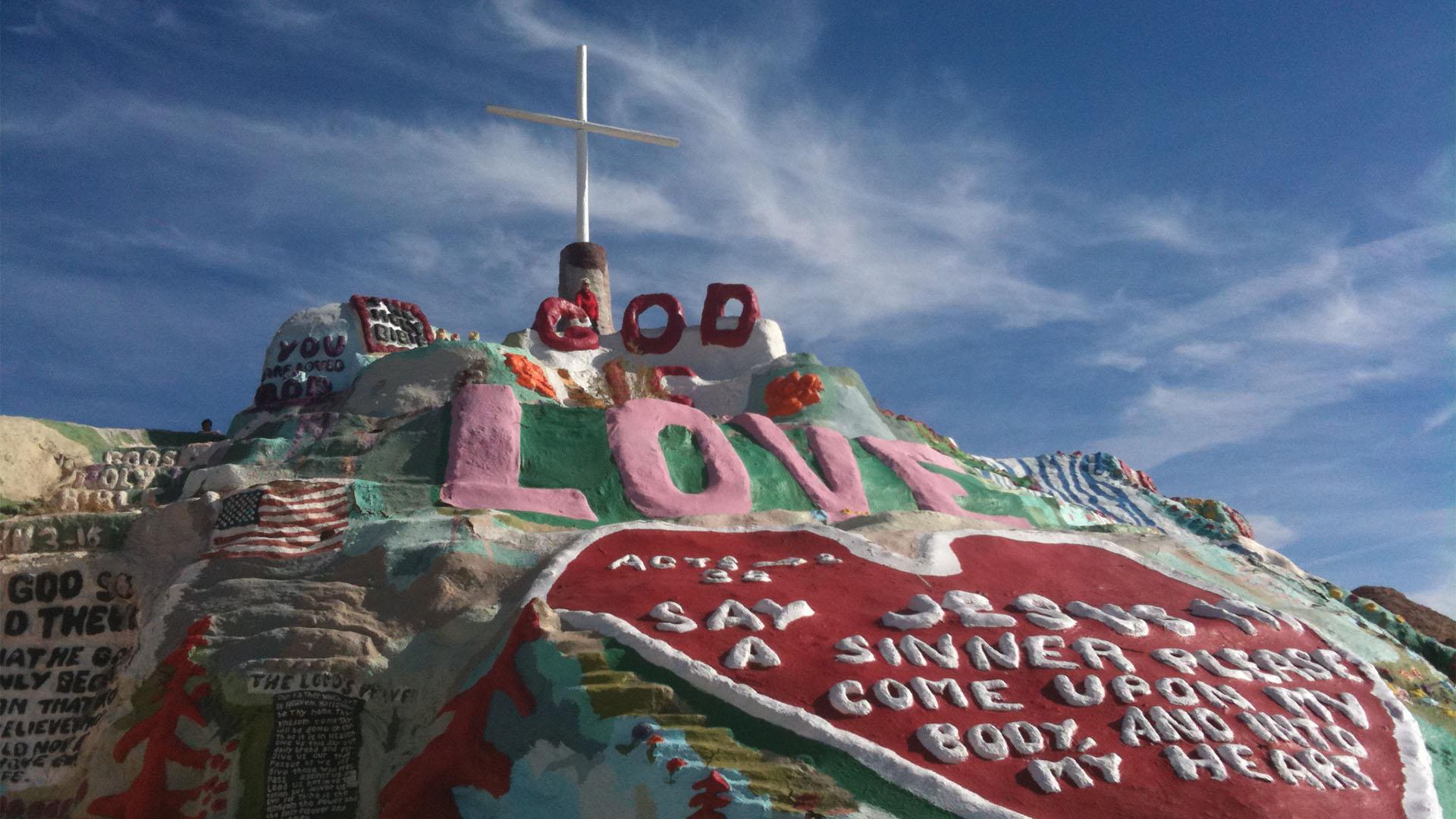 """God is Love"" at Salvation Mountain near the Salton Sea"