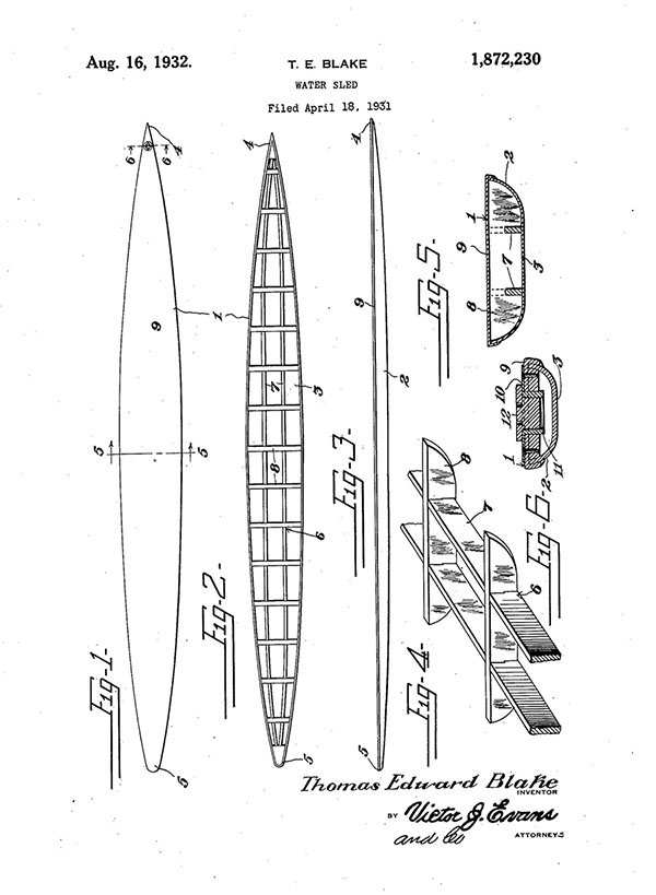 "Tom Blake's patented design for the ""water sled"" from 1932, which became known as the hollow board that revolutionized surfing 