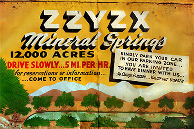 A sign welcoming travelers to Zzyzx | Jason Wallace/CSU Desert Studies Center