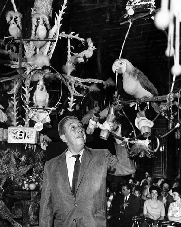 Walt Disney in the updated Tiki Room in 1963 | Herald Examiner Collection at Los Angeles Public Library