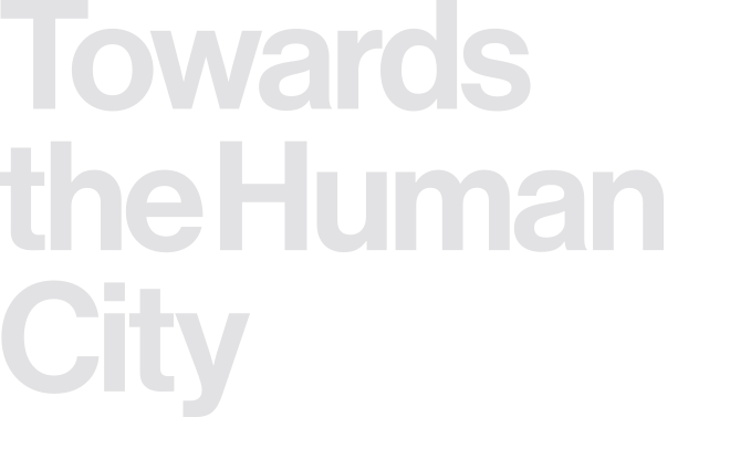 Towards the Human City logo (white, right)