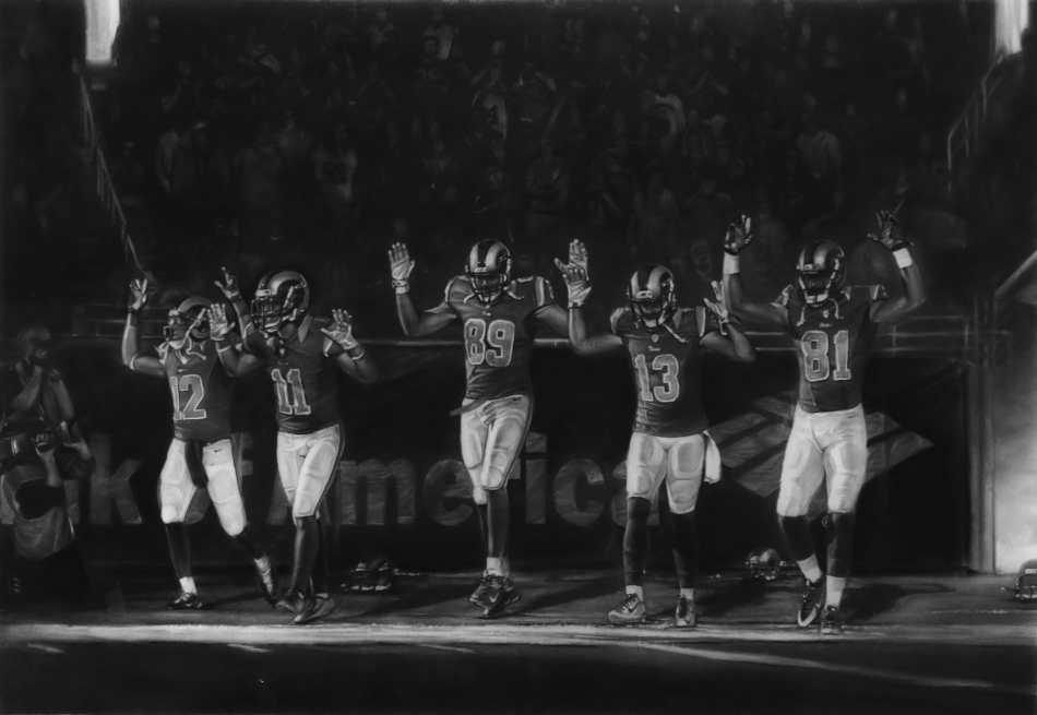 "Robert Longo, ""Full-scale Study for Five Rams (Ferguson/ Hands Up/ November 30, 2014),"" 2015. Charcoal on archival pigment print. 104 x 150 inches. 