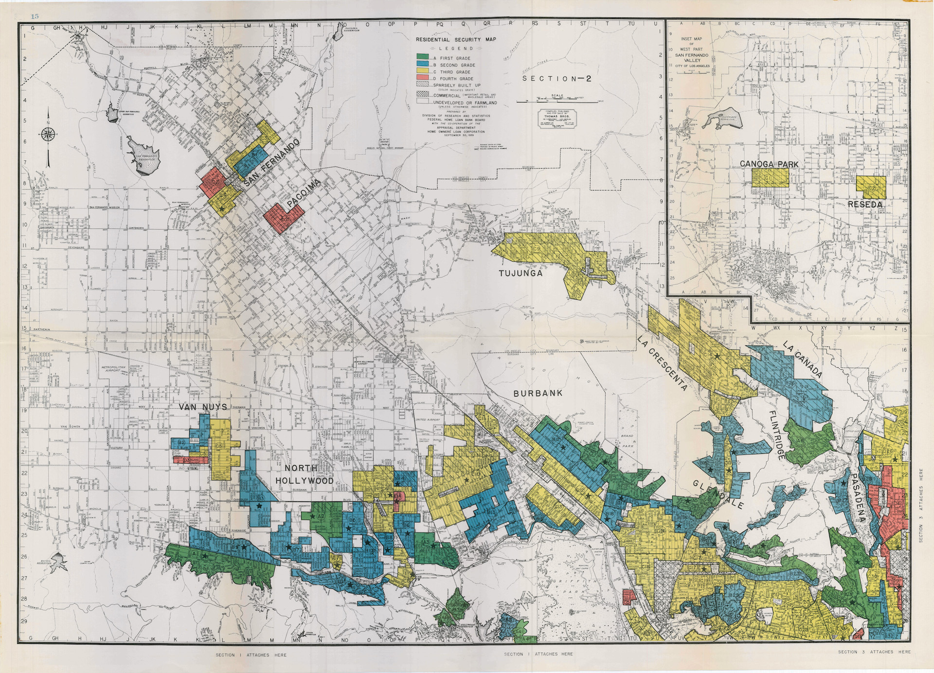 "1939 HOLC ""redlining"" map of north Los Angeles"
