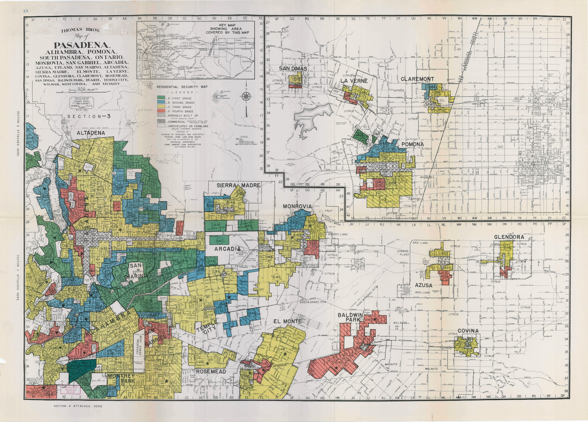 "1939 HOLC ""redlining"" map of Pasadena and vicinity"