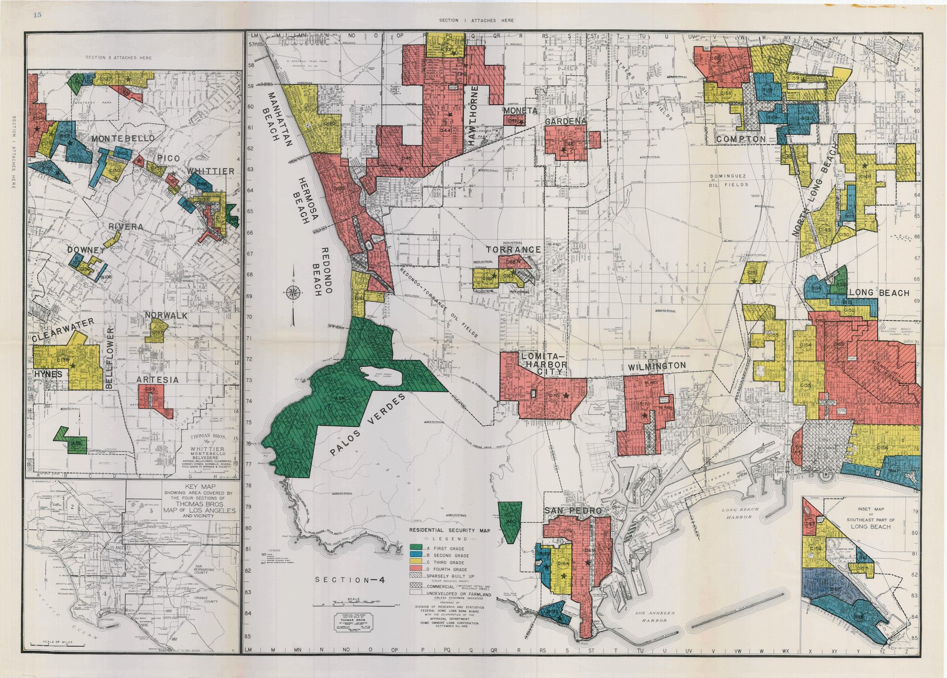 "​  1939 HOLC ""redlining"" map of south Los Angeles"
