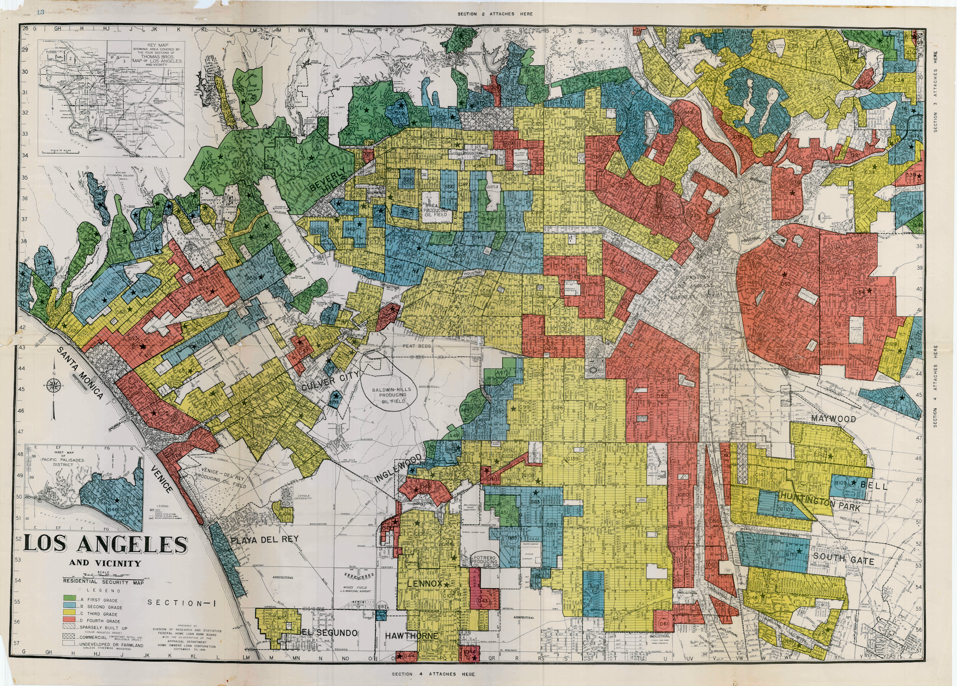 The map above shows the Home Owners Loan Corporation (HOLC) redlining of Los Angeles in 1939 with Westlake primarily coded red and Silver Lake blue. | University of Richmond