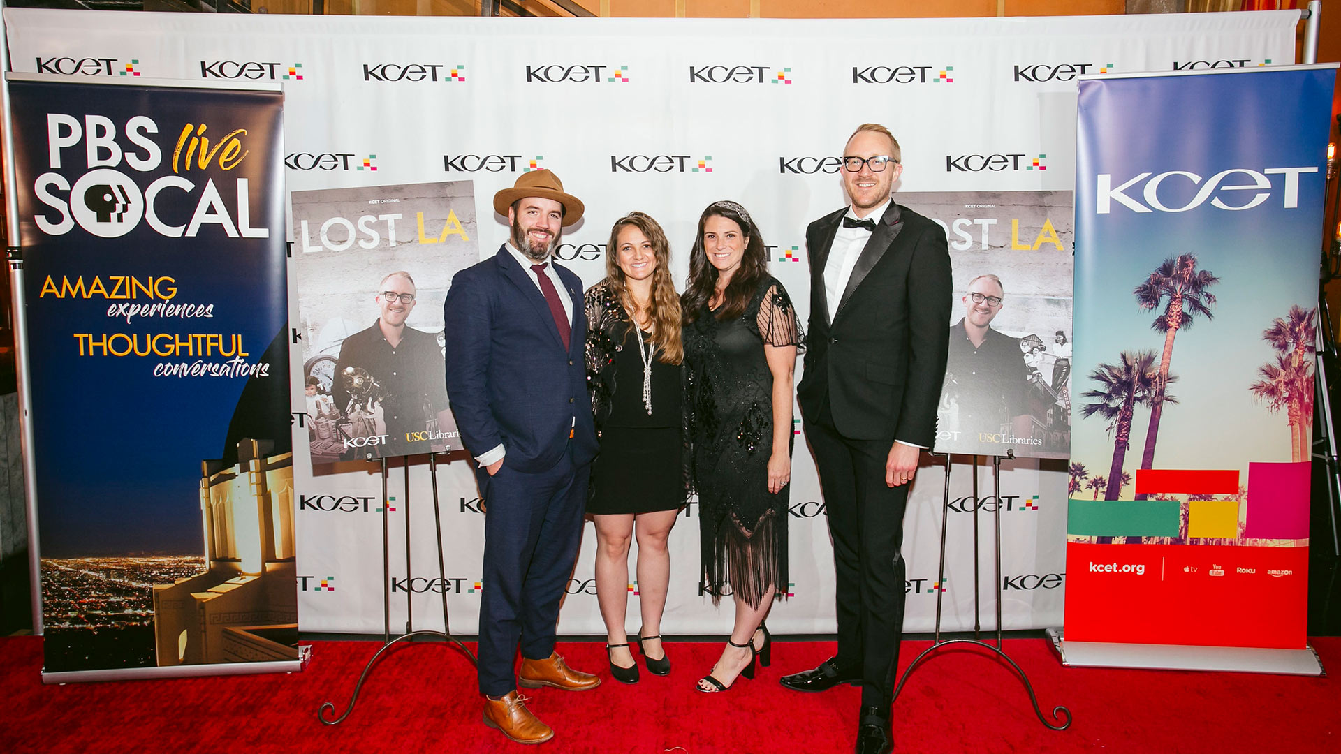 KCET's Senior Director of Production Matthew Crotty, KCET's Associate Director of Production Angela Boisvert, KCET's Chief Operating Officer Jamie Annunzio Myers and Host of LOST LA Nathan Masters arrive at KCET's LOST LA event at The Edison on October 22