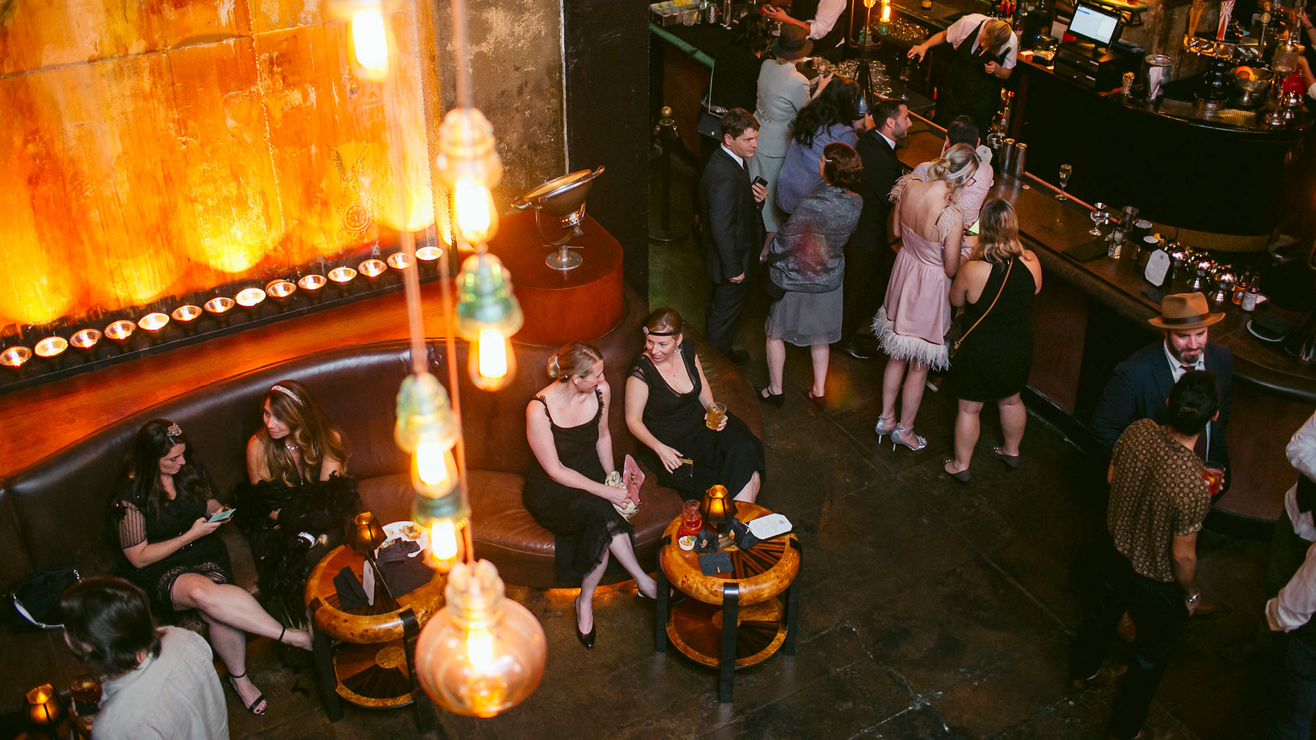 Guests enjoy prohibition themed cocktails at KCET's LOST LA event at The Edison on October 22, 2019.