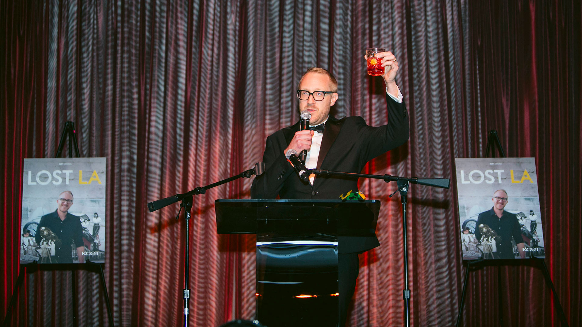 Public historian, writer and LOST LA Host, Nathan Masters of the USC Libraries toasts the crowd at KCET's LOST LA event at The Edison on October 22, 2019.