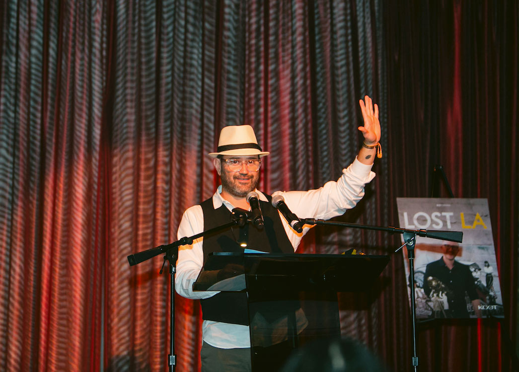 KCET's Chief Creative Officer, Juan Devis, welcomes the crowd at KCET's LOST LA event at The Edison on October 22, 2019.