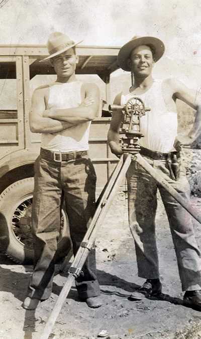 Aqueduct surveyors Luis Perez and Erwin Nunley, 1930.| Lula Mae Graves photograph. Warner Graves Collection.