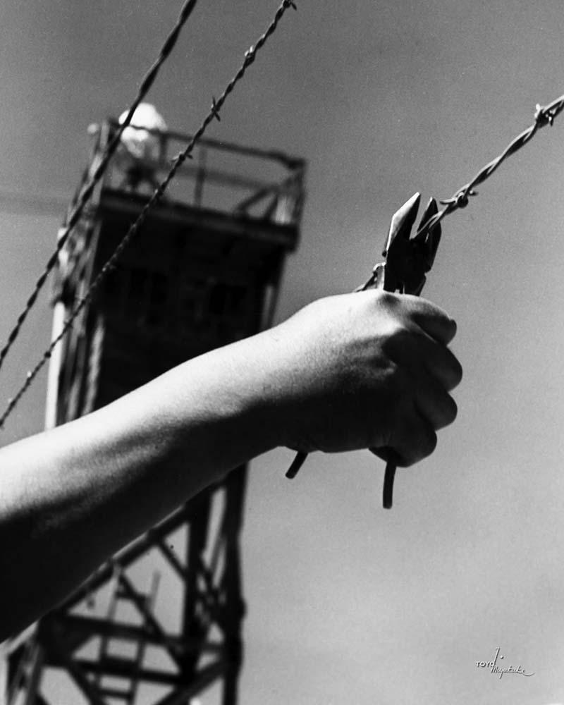 A hand cutting the barbed wire at Manzanar | Courtesy of Toyo Miyatake Studio