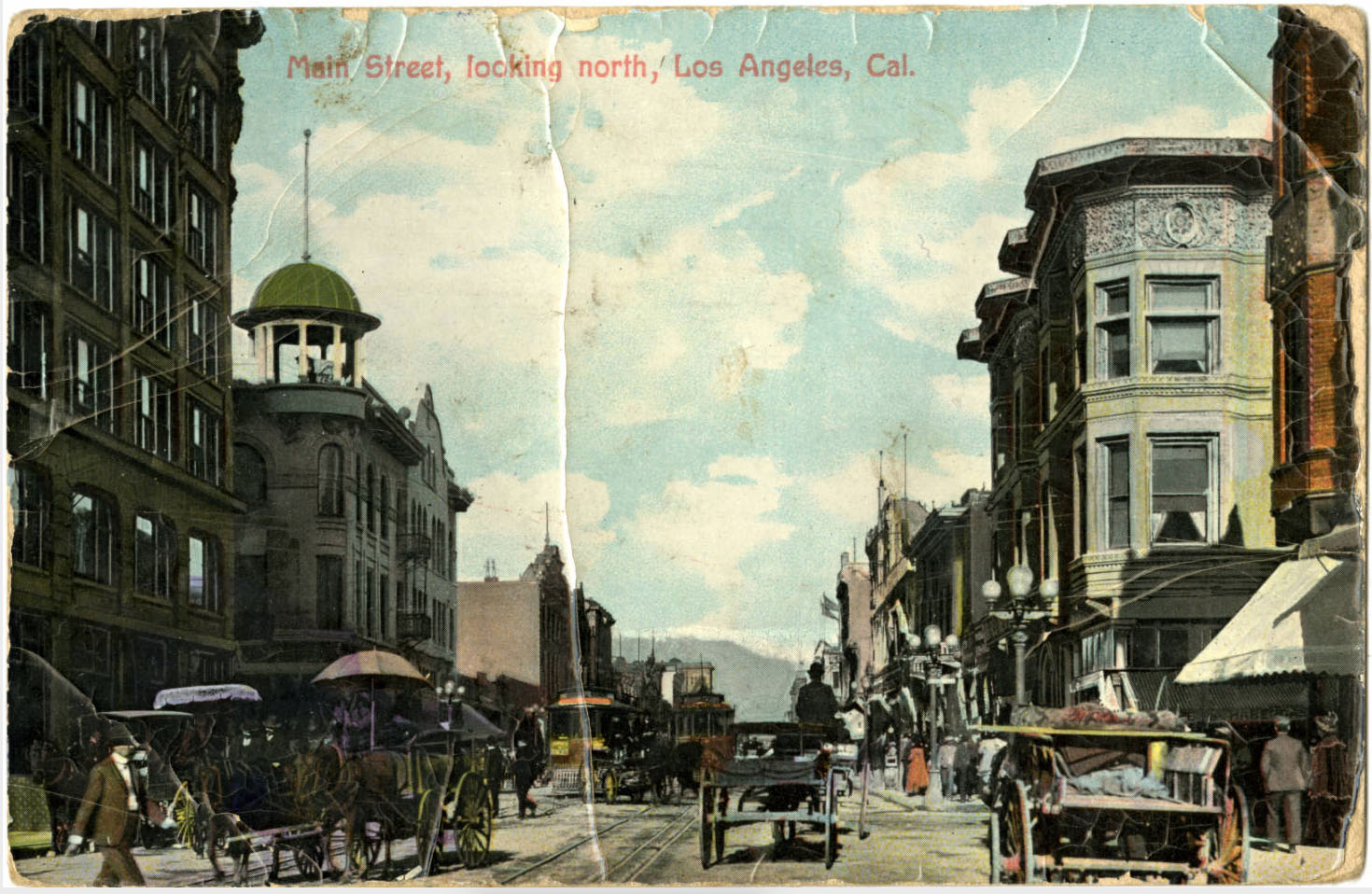 Horse-drawn vehicles dominate this typical early-20th-century L.A. street scene. Courtesy of the Werner von Boltenstern Postcard Collection, Department of Archives and Special Collections, William H. Hannon Library, Loyola Marymount University.