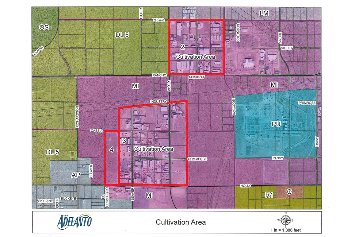 Map showing Adelanto's legal commercial indoor cannabis cultivation zones. Courtesy the City of Adelanto.