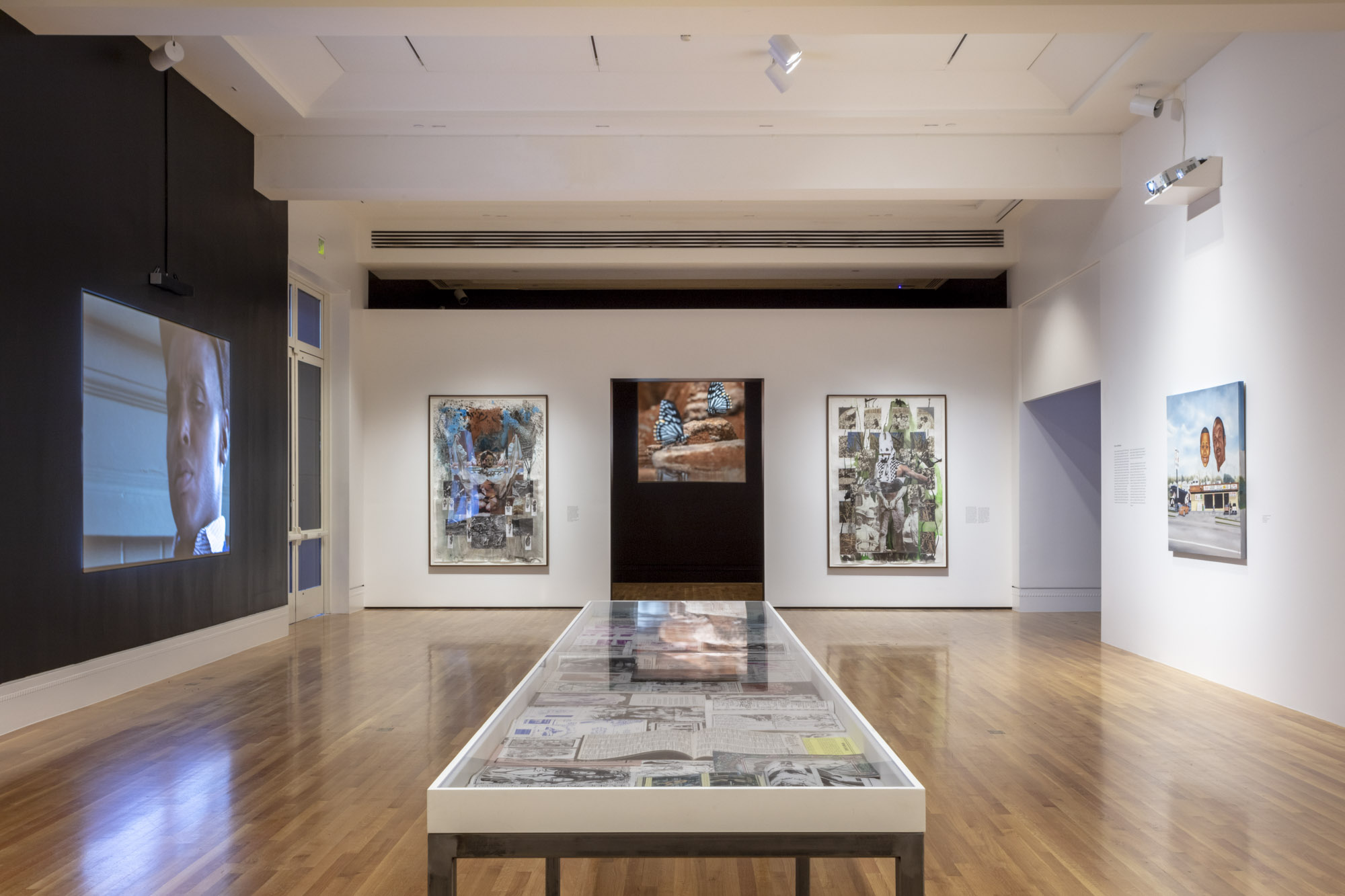 """An installation view of Mario Ayala's work at """"Made in L.A. 2020: a version"""" at The Huntington Library, Art Museum, and Botanical Gardens, San Marino. 