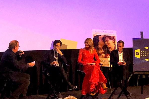 KCET Cinema Series host Pete Hammond converse's with director Noah Baumbach, Laura Dern, and producer David Heyman.