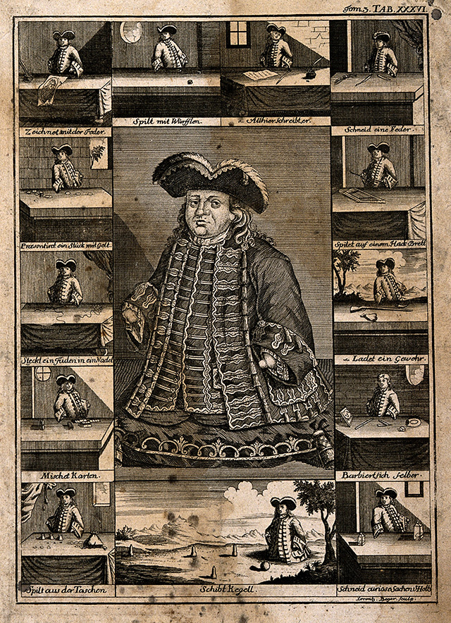 Matthias Buchinger, a phocomelic, with thirteen scenes representing his performances. | Wellcome Images