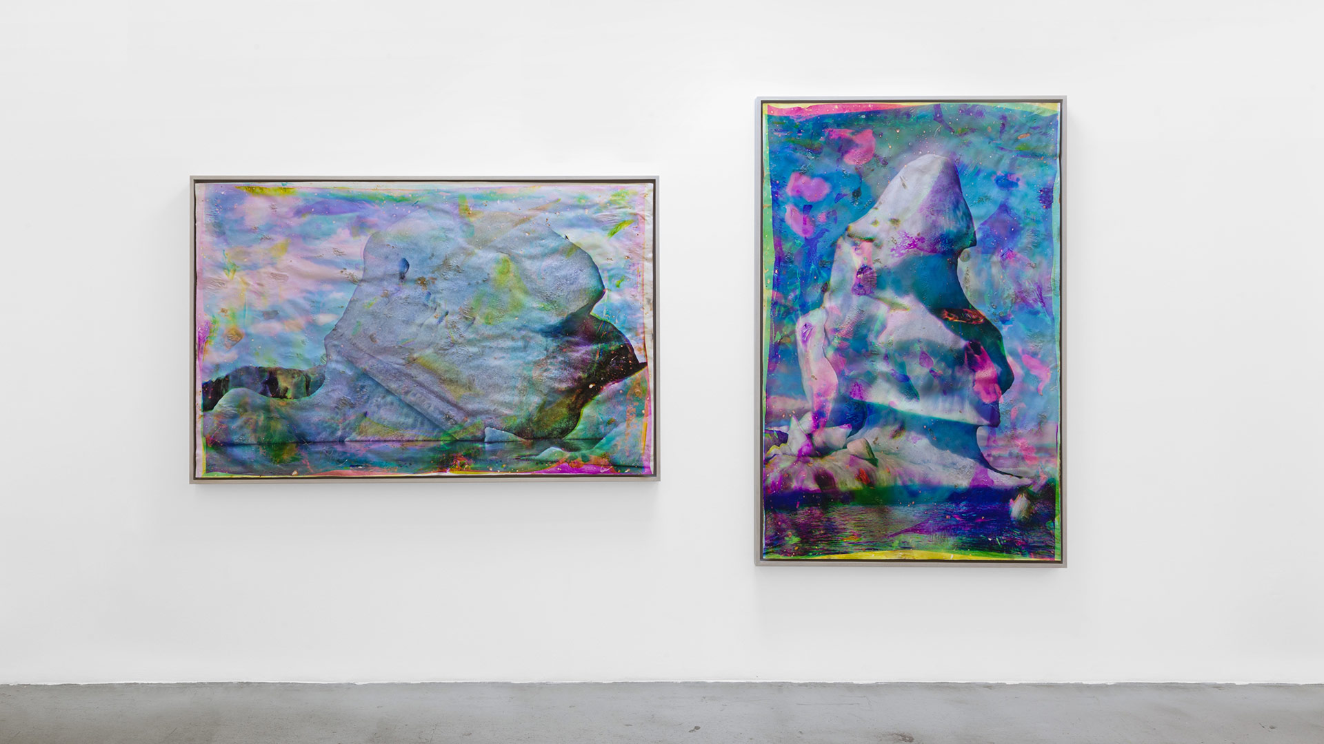 "Matthew Brandt ""Vatnajökull CMY5"" and ""Vatnajökull MYC8,"" 2018–20. Heated chromogenic print, with acrylic varnish and Aqua-Resin support 