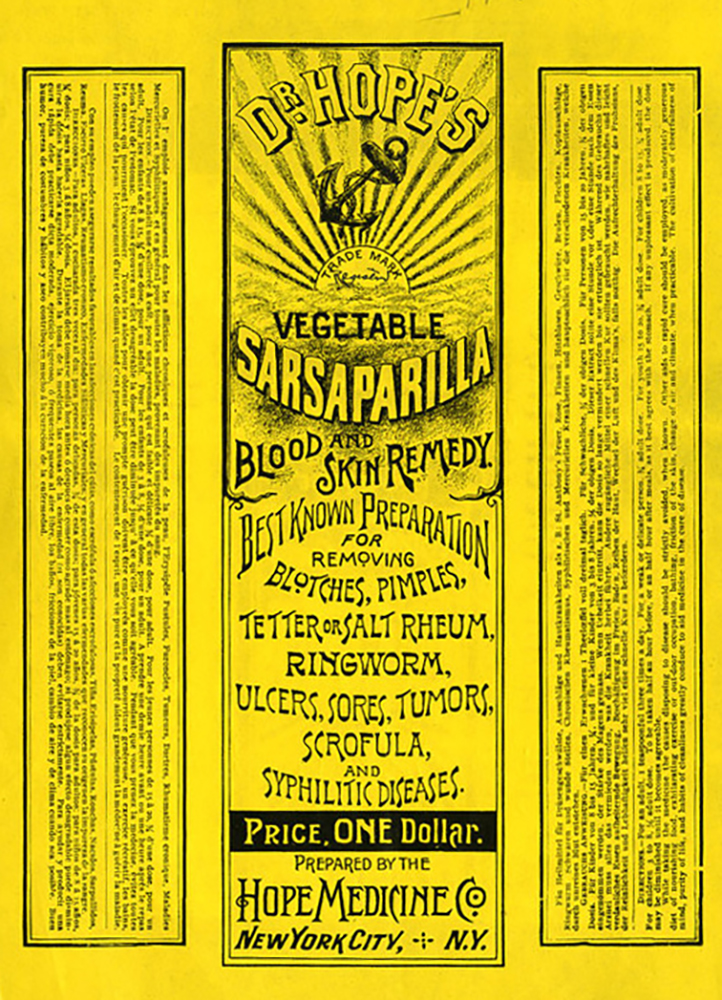 """Dr. Hope's Vegetable Sasparilla"" label, 1896 